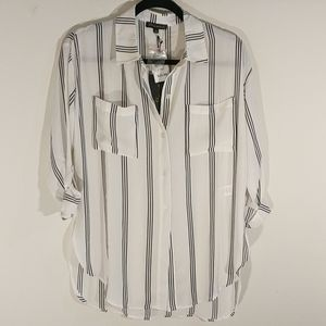 White and Black S/M striped blouse